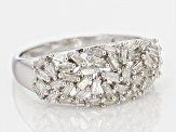 Pre-Owned White Diamond Rhodium Over Sterling Silver Ring .56ctw