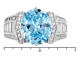 Pre-Owned Blue And White Cubic Zirconia Rhodium Over Sterling Silver Ring 10.17ctw