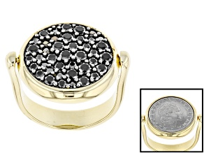 Pre-Owned 1.41ctw Black Spinel 18k Yellow Gold & Rhodium Over Bronze Lira Coin Flip Ring