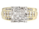 Pre-Owned Diamond 10k Yellow Gold Quad Ring 1.00ctw