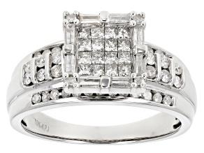 Pre-Owned Diamond 10k White Gold Quad Ring 1.00ctw