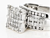Pre-Owned Diamond 10k White Gold Quad Ring 1.00ctw