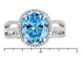 Pre-Owned Blue And White Cubic Zirconia Rhodium Over Sterling Silver Ring 6.50ctw