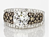 Pre-Owned Moissanite And Brown Diamond Ring Platineve™