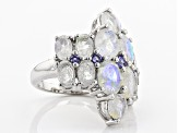 Pre-Owned White Rainbow Moonstone Sterling Silver Ring .47ctw