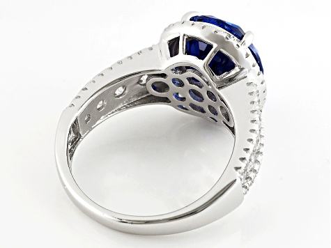 Pre-Owned Blue And White Cubic Zirconia Rhodium Over Silver Ring 10.01ctw