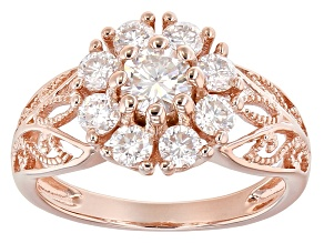 Pre-Owned Moissanite 14k Rose Gold Over Silver Ring 1.30ctw DEW