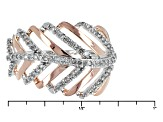 Pre-Owned Diamond Rhodium And 14k Rose Gold Over Sterling Silver Ring .25ctw