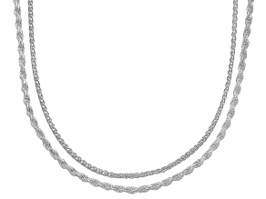 Pre-Owned Sterling Silver Wheat And Rope Chain Set 20 inch