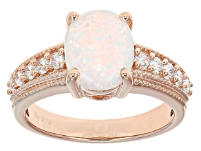 Pre-Owned Opal Simulant And White Cubic Zirconia 18k Rose Gold Over Silver Ring 1.99ctw