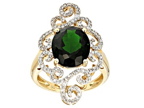Pre-Owned Green Russian Chrome Diopside 14k Yellow Gold Ring 4.30ctw.