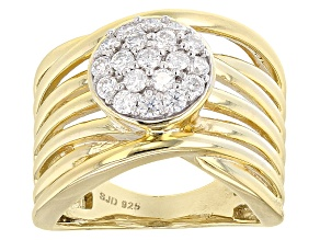 Pre-Owned Moissanite 14k Yellow Gold Over Silver Ring .57ctw DEW