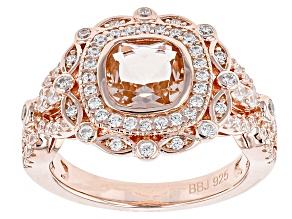 Pre-Owned Morganite Simulant And White Cubic Zirconia 18k Rose Gold Over Silver Ring 1.88ctw