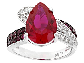Pre-Owned Red Lab Created Ruby Silver Ring 3.97ctw