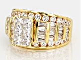 Pre-Owned White Cubic Zirconia 18k Yellow Gold Over Sterling Silver Ring 5.62ctw
