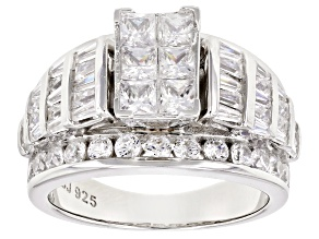 Pre-Owned Bella Luce 5ctw Princess Cut Cubic Zirconia .925 Sterling Silver Bridge Ring
