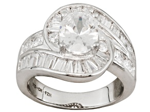 Pre-Owned Bella Luce ® 7.23ctw Rhodium Over Sterling Silver Ring
