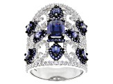 Pre-Owned Lab Created Sapphire, Blue And White Cubic Zirconia Rhodium Over Sterling Ring 7.12ctw
