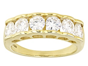Pre-Owned Moissanite 14k Yellow Gold Over Silver Ring 1.98ctw DEW