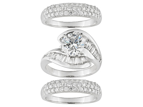 Pre-Owned Bella Luce ® 7.31ctw Rhodium Over Sterling Silver Ring With Bands (5.93ctw DEW)