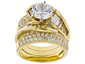Pre-Owned Bella Luce 7.31ctw 18k yg over sterling silver Ring With Bands (5.93ctw DEW)