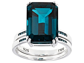 Pre-Owned Blue Topaz Silver Ring 8.20ctw