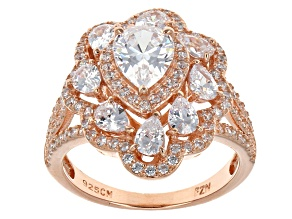 Pre-Owned White Cubic Zirconia 18k Rose Gold Over Silver Ring 5.13ctw