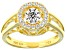 Pre-Owned Cubic Zirconia 18k Yellow Gold Over Sterling Silver Dancing Bella Ring 1.04ctw