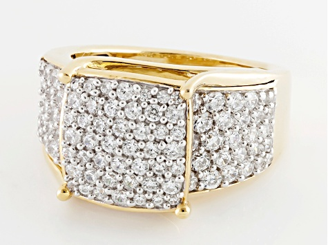 Pre-Owned Cubic Zirconia 18k Yellow Gold Over Silver Ring 4.10ctw (1.94ctw DEW)