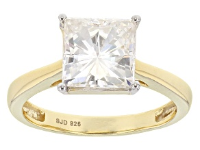 Pre-Owned Moissanite 14k Yellow Gold Over Silver Ring 3.10ct DEW