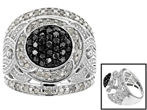 Pre-Owned Black And White Diamond Sterling Silver Ring 1.00ctw