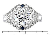 Pre-Owned Moissanite And Blue Sapphire Platineve Ring 2.84ctw DEW