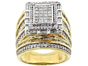 Pre-Owned White Diamond Ring 10k Yellow Gold 3.00ctw