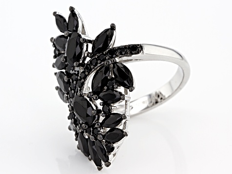 Pre-Owned Black Spinel Sterling Silver Ring 5.37ctw