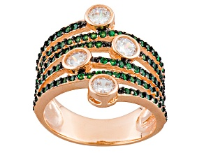 Pre-Owned Green And White Cubic Zirconia 18k Rg Over Silver Ring 2.49ctw