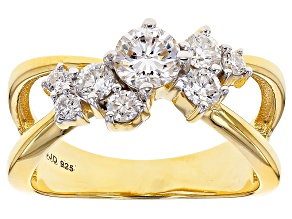 Pre-Owned Moissanite 14k Yellow Gold Over Silver Ring .95ctw DEW
