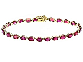 Pre-Owned Mahaleo Ruby 10k Yellow Gold Tennis Bracelet 13.33ctw.