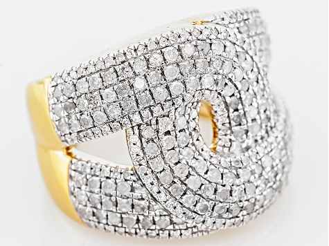 Pre-Owned Diamond, 14k Yellow Gold Over Sterling Silver Ring, 1.50ctw