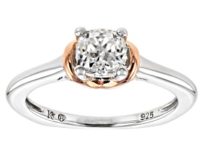 Pre-Owned Moissanite Fire® .80ct DEW Platineve™ And 14k Rose Gold Over Sterling Two Tone Ring