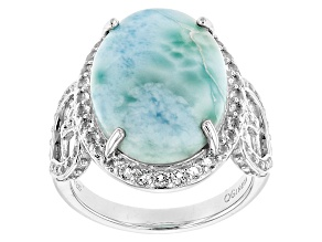 Pre-Owned Blue Larimar Sterling Silver Ring .50ctw