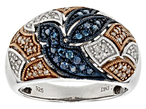 Pre-Owned Rhodium Over Sterling Silver Blue Champagne And White Rhodium Settings .40ctw