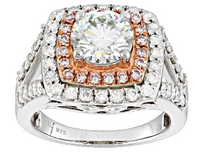 Pre-Owned Moissanite And Pink Diamond Ring Platineve™