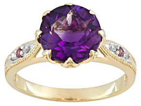 Pre-Owned 2.25ct Purple Amethyst, Pink Tourmaline, Diamond Accent 10k Yellow Gold Ring