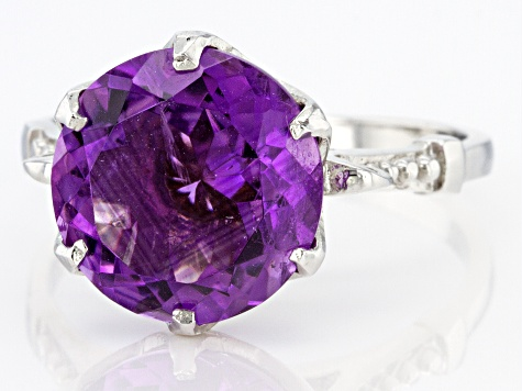 Pre-Owned Purple Amethyst Sterling Silver Ring 5.00ct
