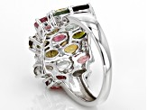 Pre-Owned Multicolor Tourmaline and White Zircon Sterling Silver Ring 4.15ctw