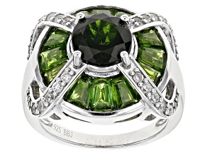 Pre-Owned Green Chrome Diopside Silver Ring 4.74ctw
