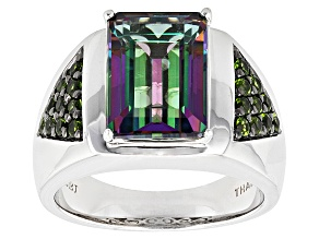 Pre-Owned Green Mystic® Topaz Silver Mens Ring 8.21ctw