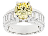 Pre-Owned Yellow And White Cubic Zirconia Sterling Silver Ring 7.25ctw