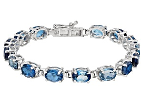 Pre-Owned Blue Topaz Sterling Silver Bracelet 17.00ctw