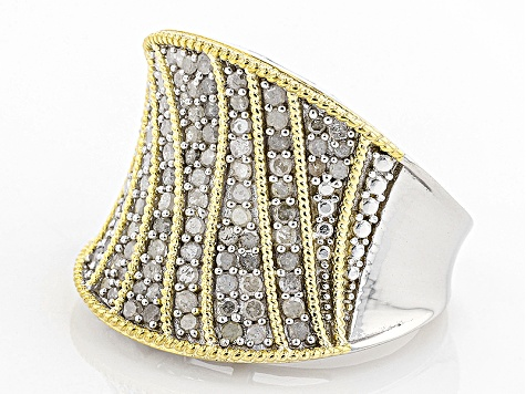 Pre-Owned White Diamond 14k Yellow Gold And Rhodium Over Sterling Silver Ring .95ctw